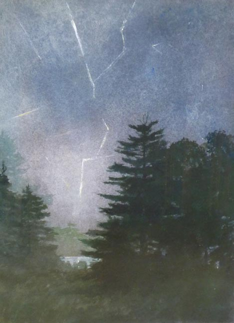John W. McCoy, Thunderstorm, 1972, mixed media on paper, 30 x 22 inches