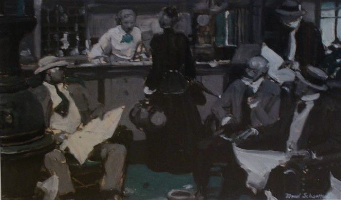 Mead Schaeffer, General Store, oil on illustaration board, 7 1/2 x 11 1/2 inches