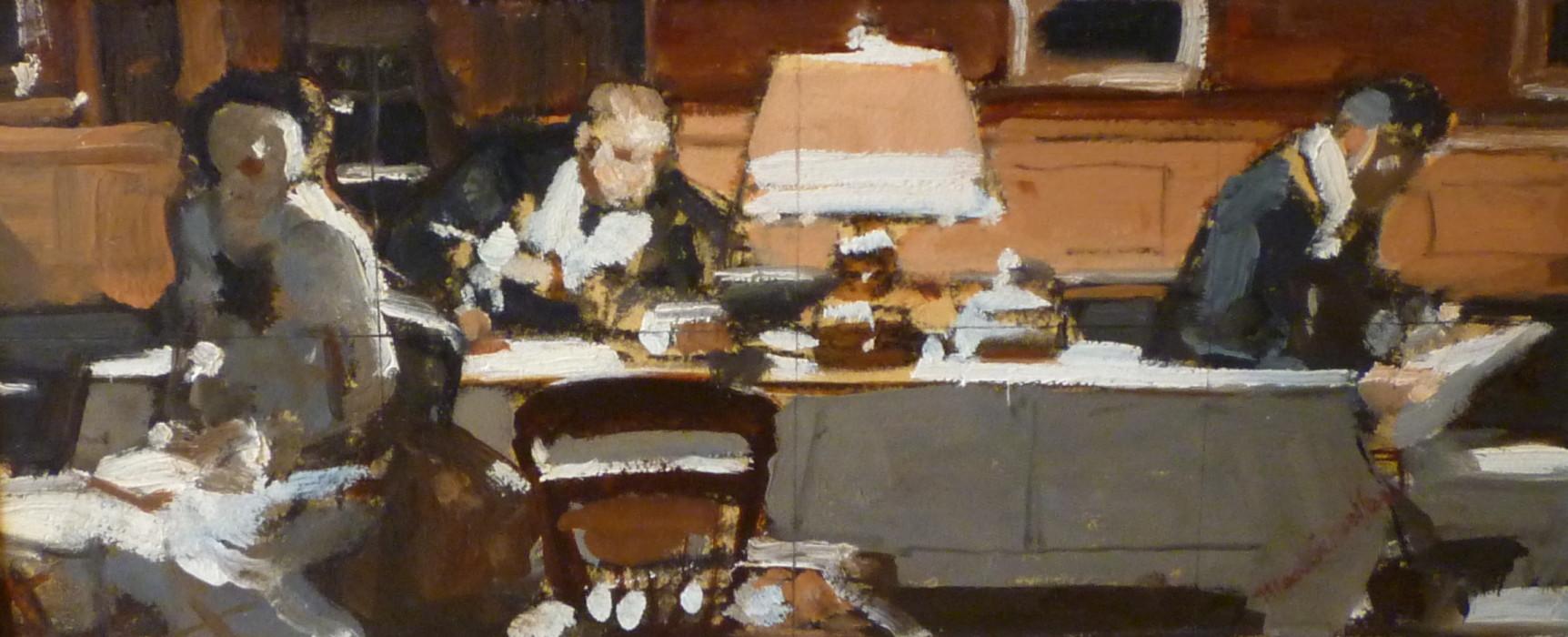 Mead Schaeffer, Men at Desk, oil on illustration board, 6 x 13 1/2 inches