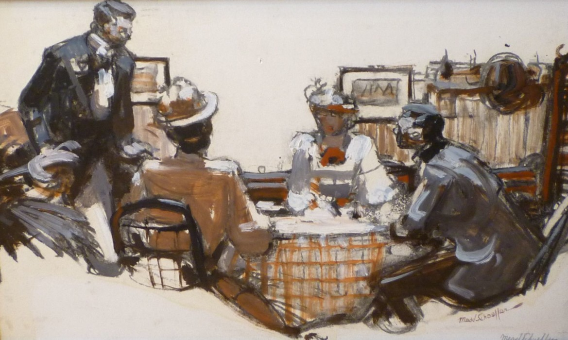 Mead Schaeffer, People at the Table, oil on illustration board, 15 1/4 x 9 inches