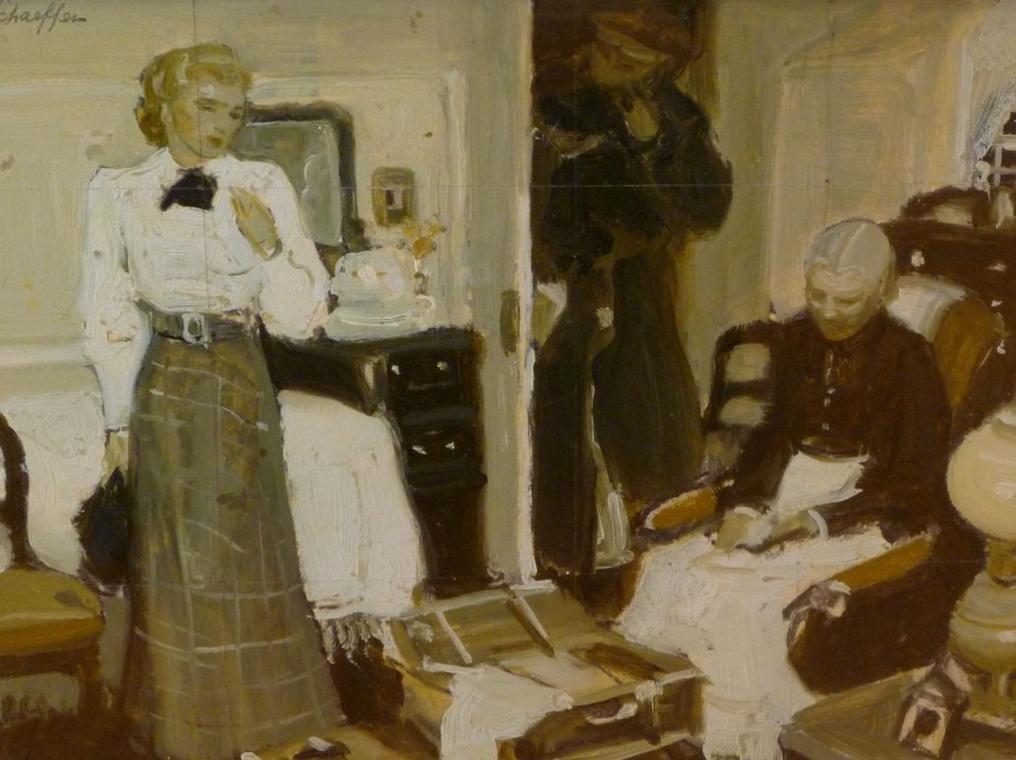 Mead Schaeffer, Two Victorian Women in Room, oil on illustration board, 8 1/2 x 11 1/2 inches