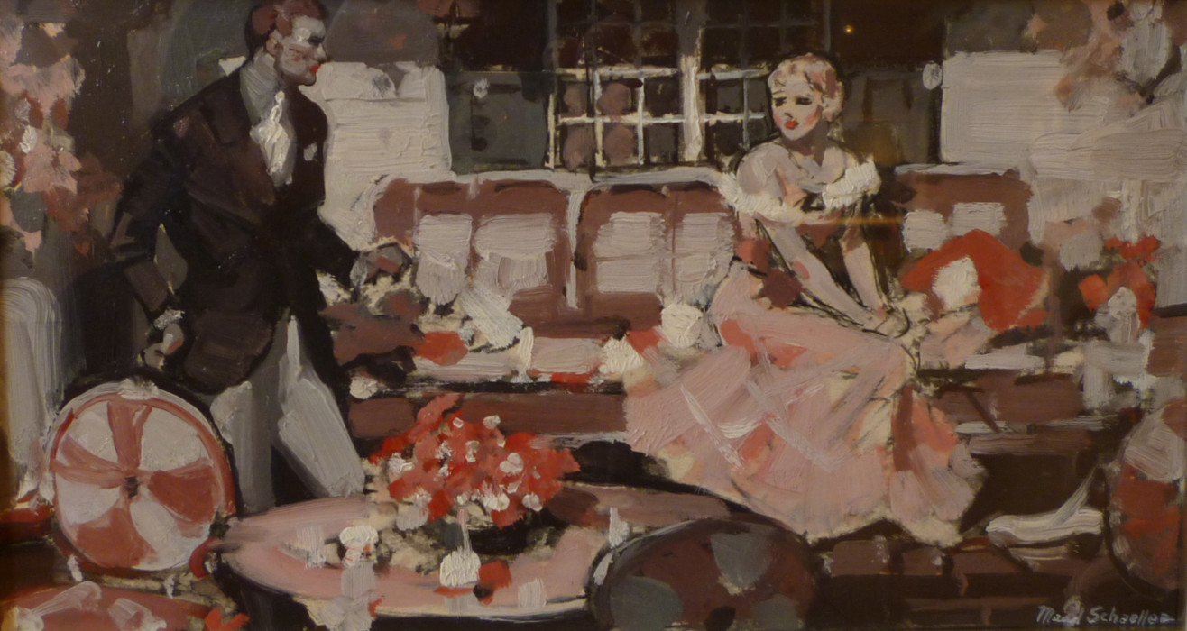 Mead Schaeffer, Woman in Pink on Veranda, oil on illustration board, 12 x 6 1/4 inches