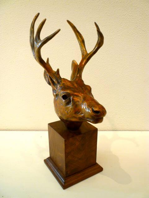 Margery Torrey, Deer Head, bronze, 14 3/4 x 6 x 7 inches