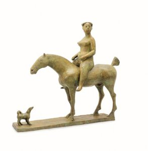 Olivia Musgrave, Amazon with Dog, bronze 23 1/4 x 25 x 9 1/2 inches