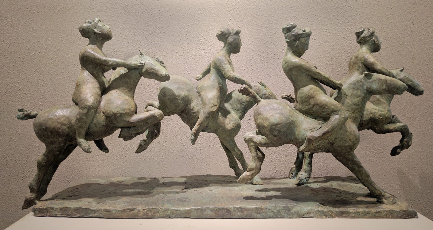 Olivia Musgrave, Up, Over and Away, bronze, 31 x 10 x 14 inches