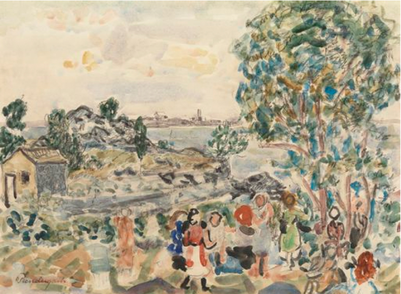 Children in a Landscape, 1920/1923, watercolor and pencil on paper, 9 7/8 x 13 1/2 inches