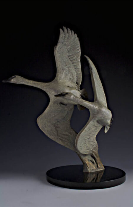 Margery Torrey, Swan Duet, bronze, 15 x 19 x 7 inches, edition of 25