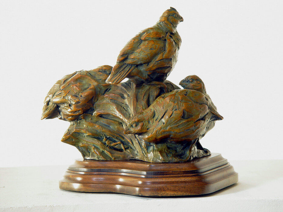 Margery Torrey, Covey Up, bronze, 10 1/2 x 8 x 11 1/4 inches, edition of 25