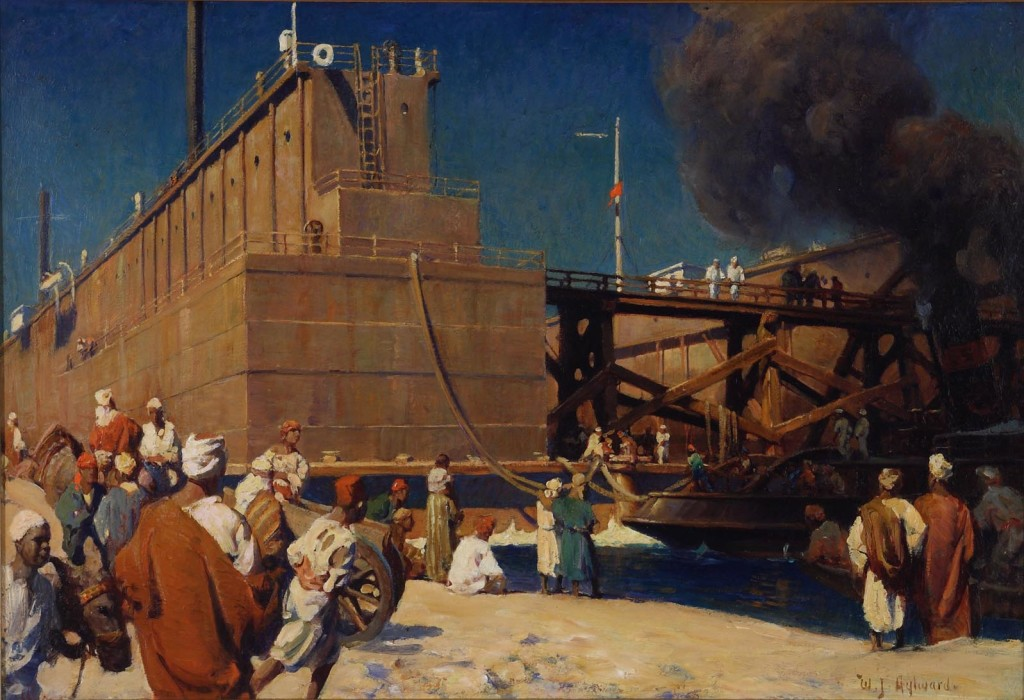 Suez, 1908, oil on board, 16 1/2 x 24 1/4 inches, Scribner's Magazine, April 1908 (vol. XLIII, No 4 ): The West in the Orient IV - The Westward Tide of Commerce Through Suez by Charles M. Pepper