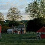 Timothy Barr, Gilpin Farm Sunset, 2012, oil on panel, 16 x 28 inches