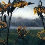 Timothy Barr, Sunflowers and Gold Finches, 2011, oil on panel, 20 x 24 inches