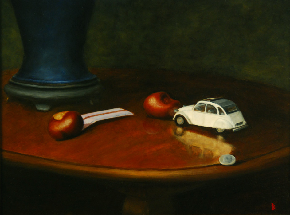 J. Clayton Bright, Boy's Pocket, 2008, oil on paper on panel, 11 1/2 x 20 inches