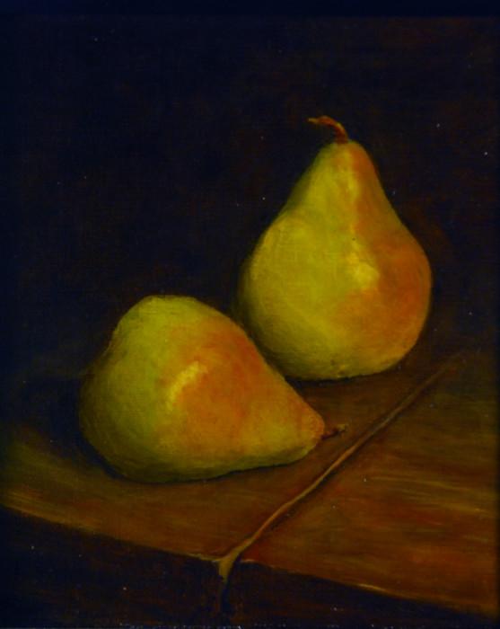 J. Clayton Bright, Comice, oil on canvas, 8 x 9 inches