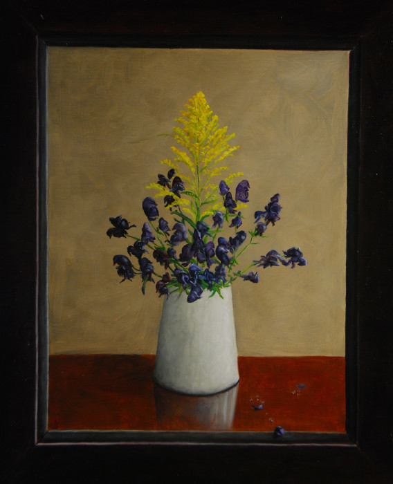 J. Clayton Bright, Goldenrod and Monkshood, oil on canvas on panel, 17 1/2 x 14 1/2 inches