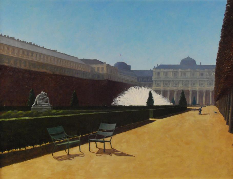J. Clayton Bright, Les Jardins du Palais Royal, 2000, oil on canvas, 18 x 24 inches