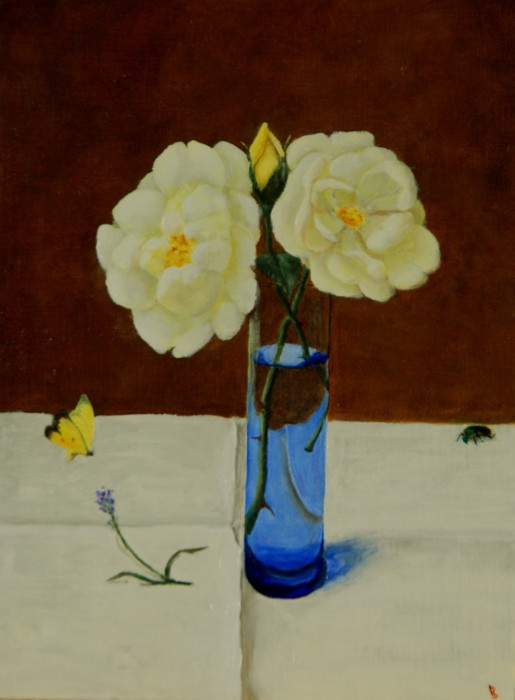 J. Clayton Bright, The Blue Vase, oil on canvas, 12 x 9 inches