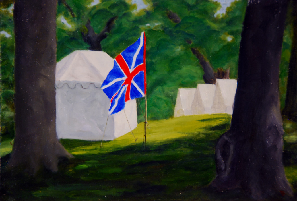 J. Clayton Bright, The Encampment, oil on canvas on panel, 9 x 12 inches