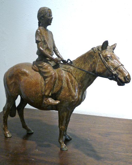 J. Clayton Bright, The Equestrienne, bronze, 11 x 11 x 4 inches