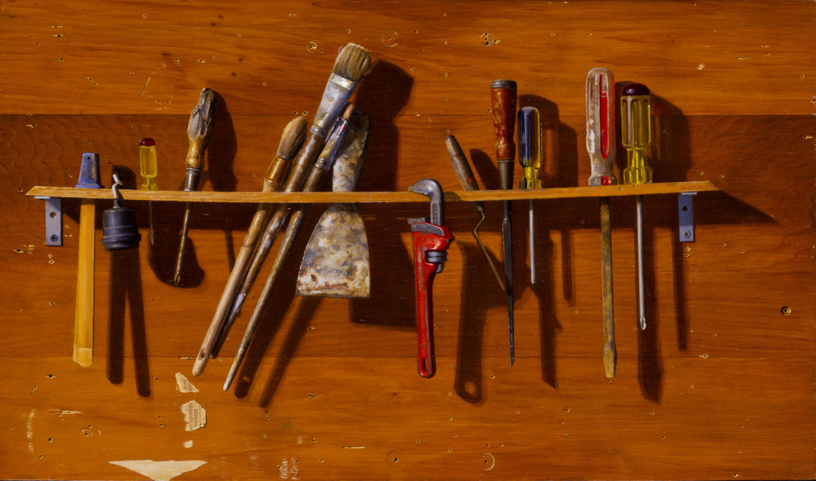 Mikel Glass, A Wrench in the Works, Oil on Canvas, 20 x 35 inches