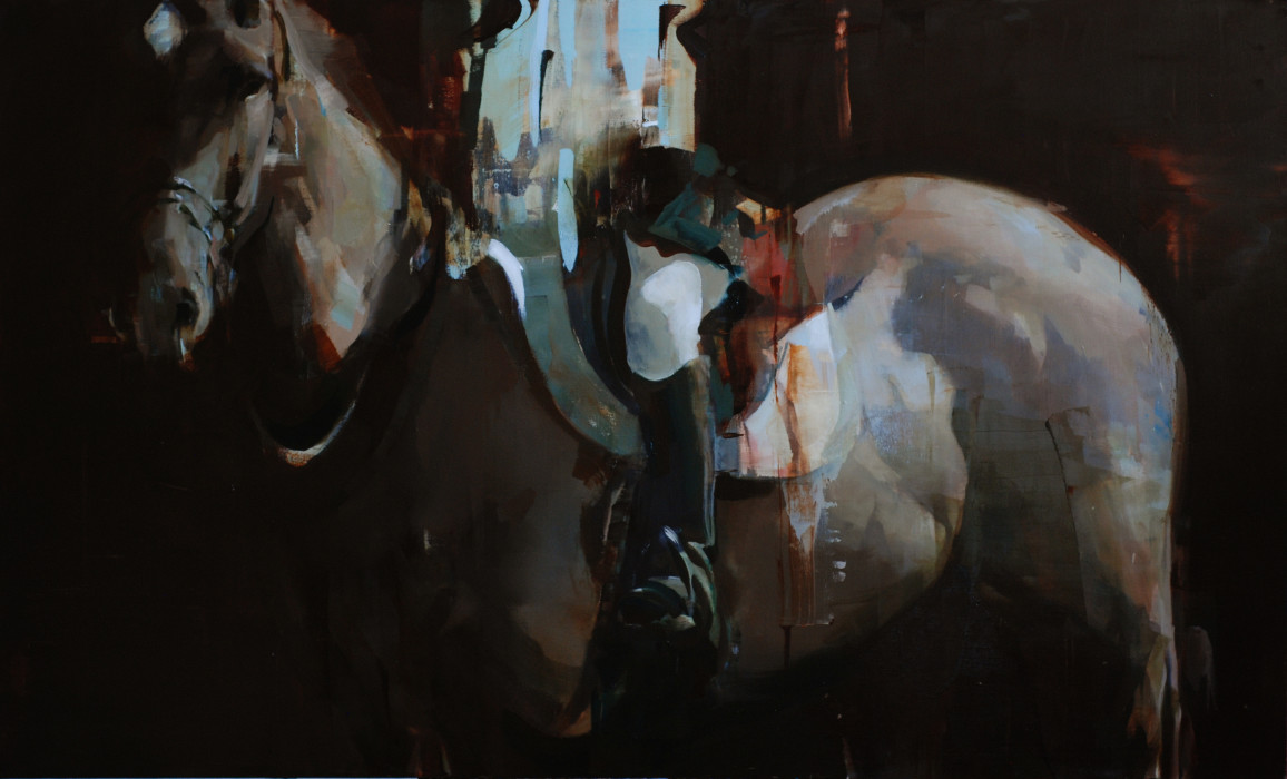 Alex Kanevsky, Dark Horse with Partial Rider, 2011, Oil on canvas, 40 x 66 inches