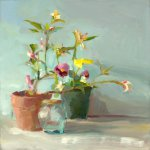 Christine Lafuente, Baby Lemon Tree and Pansies, oil on canvas, 20 x 20 inches