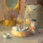 Christine Lafuente, Eggshells, Bottles, and Clock, oil on board, 11 x 13 inches