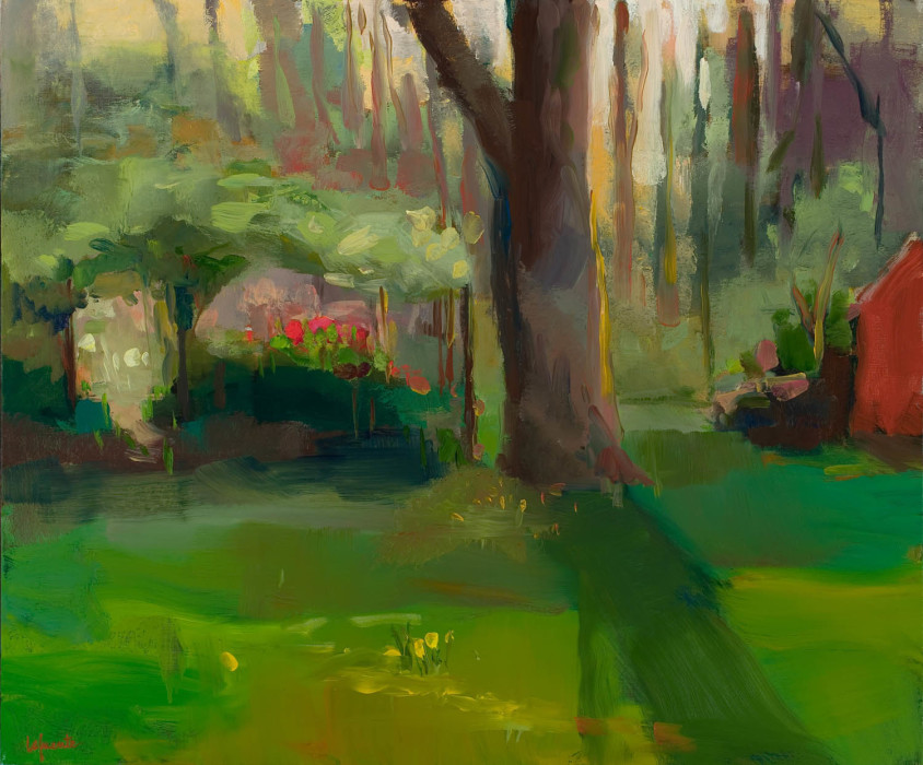 Christine Lafuente, Garden at Dusk, oil on linen, 30 x 36 inches