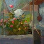 Christine Lafuente, Greenhouse with Open Door, oil on linen, 20 x 20 inches