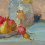 Christine Lafuente, Jars with Crab Apples, oil on board, 6 x 8 inches
