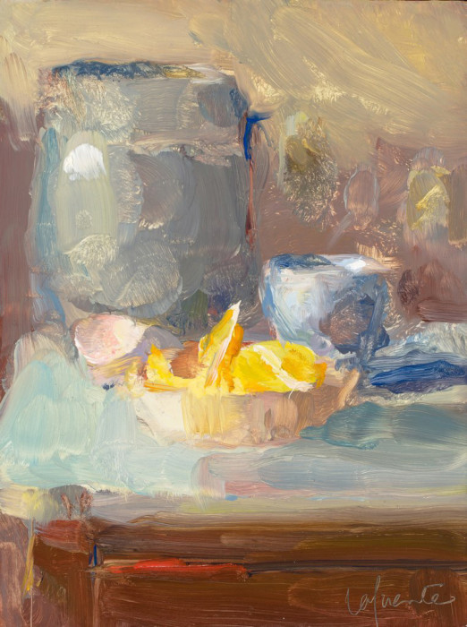 Christine Lafuente, Jar with Lemons and Teacups, oil on board, 8 x 6 inches