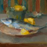 Christine Lafuente, Lemon and Mackerel, oil on mounted linen, 10 x 10 inches