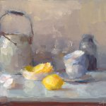 Cristine Lafuente, Lemon with Eggshells and Teacups, oil on board, 9 x 12 inches