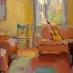Christine Lafuente, Living Room with Guitar, oil on linen, 14 x 11 inches