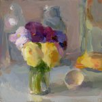 Christine Lafuente, Pansies and Eggshell, oil on board, 8 x 8 inches