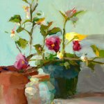 Christine Lafuente, Painsies and Lemon Tree, oil on board, 16 x 11 inches