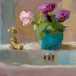 Christine Lafuente, Pansies and Sink, oil on board, 9 x 12 inches