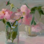 Christine Lafuente, Peonies, oil on linen, 11 x 14 inches