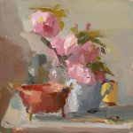 Christine Lafuente, Peonies and Copper Bowl, oil on board, 10 x 10 inches