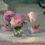 Christine Lafuente, Peonies and Forget Me Nots, oil on linen, 14 x 18 inches