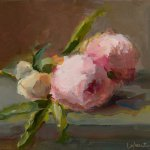 Christine Lafuente, Peony Blooms, oil on mounted linen, 8 x 10 inches