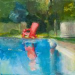 Christine Lafuente, Pool in Summer, oil on mounted linen, 10 x 10 inches