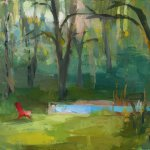 Christine Lafuente, Red Chair and Summer Trees, oil on mounted linen, 11 x 14 inches