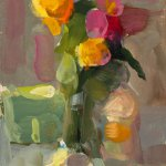Christine Lafuente, Roses, Bottle, and Eggshell, oil on paper, 6 x 4 inches