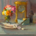 Christine Lafuente, Roses, Mackerel, and Clock, oil on linen, 16 x 20 inches