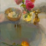 Christine Lafuente, Roses and Sink, oil on linen, 14 x 11 inches