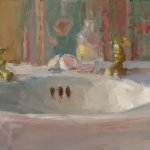 Christine Lafuente, Sink Basin and Eggshells, oil on mounted linen, 11 x 14 inches