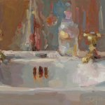 Christine Lafuente, Bottles and Sink, oil on mounted linen, 9 x 12