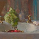 Christine Lafuente, Sink with Lettuce and Strawberries, oil on linen, 14 x 18