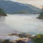 Christine Lafuente, Somes Sound, Overcast Evening, oil on mounted linen, 9 x 12 inches
