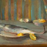 Christine Lafuente, Spanish Mackerel, Lemon, and Eggshells, oil on linen, 12 x 16 inches